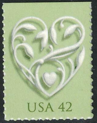 Scott 4271- Wedding Heart, Green- MNH (S/A) 42c 2008- mint unused stamp - Minted Wedding