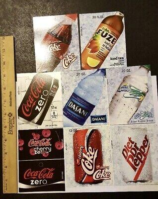 9 Vintage New Flavor Strip Display Vending Machine Labels Beverage Soda Water