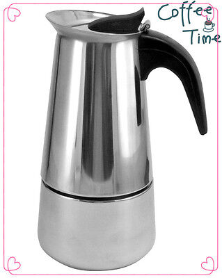 6 Cup Brew fresh Stainless Steel ItalianStyle Expresso Coffee Maker High -