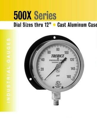 "Industrial Pressure Gauge 6"" Dial Trerice 0-100 psi Lower Co"