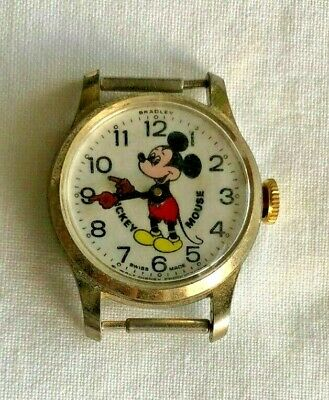 Vintage Mickey Mouse Watch WORKING WORKS Swiss Made Analog Wind-Up Gold Tone