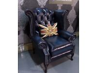 NEW Chesterfield Queen Anne Wing Back Chair in Blue Leather - UK Delivery
