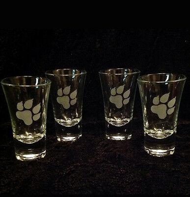 4 X DOG PAW ETCHED SHOT GLASSES BIRTHDAY GIFT PRESENT HUSKY LABRADOR...
