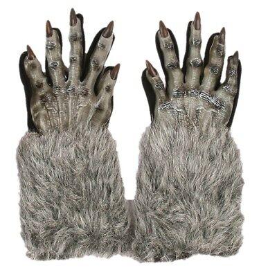 Grey Werewolf Gloves Wolf Halloween Adult Costume Accessory Evil Faux Fur Latex (Halloween Costumes Werewolf Gloves)