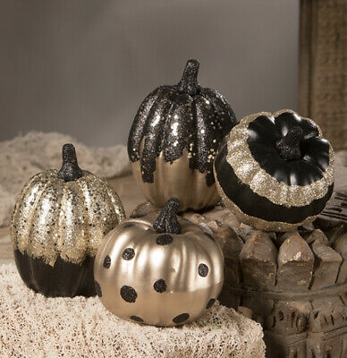 Bethany Lowe Halloween Black & Gold Glittered Pumpkins—Set Of 4-NEW FOR 2020