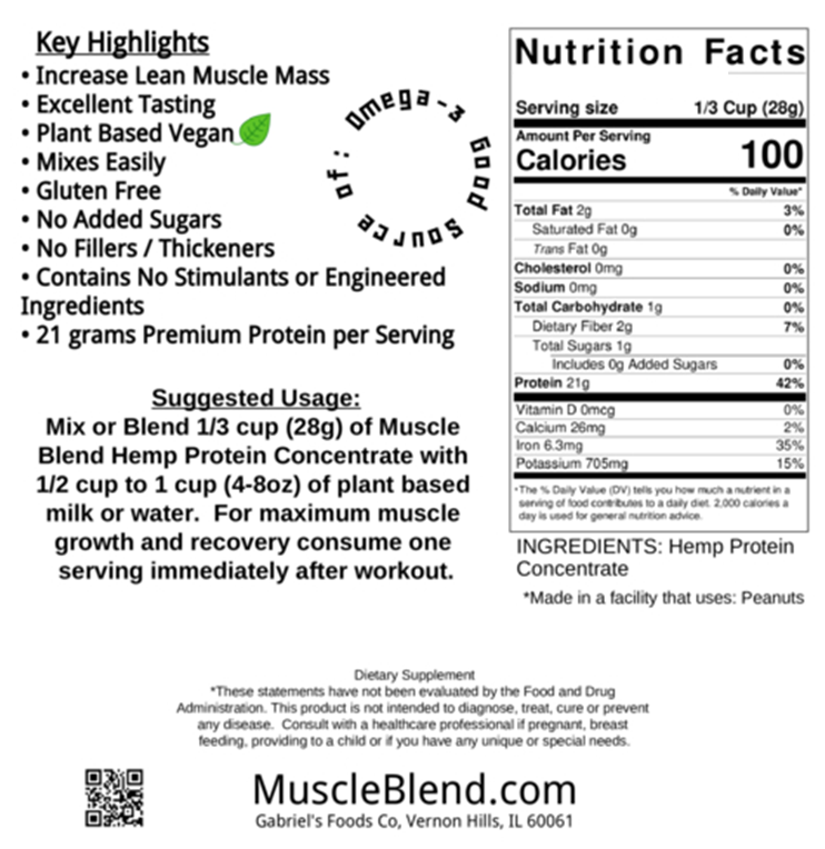 Muscle Blend RAW Hemp Protein 70% Concentrate, 32 oz, Plain, Non-GMO, USA 2