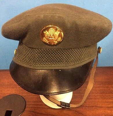 (1960's US Army Service Visor Cap & Eagle Badge 7 1/8