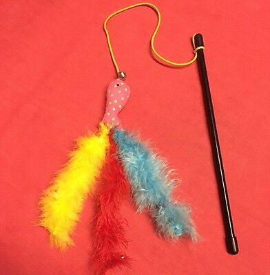 Cat Kitten Toy Feather 9 inch Catnip Fish Bell Dangler Teaser Interactive