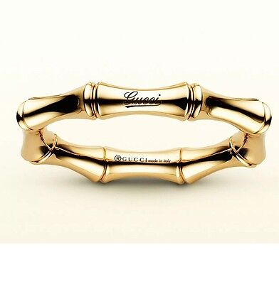 NWT $1250 GUCCI 18K Yellow Gold Bamboo Flex / Spring Band Engraved Size 8