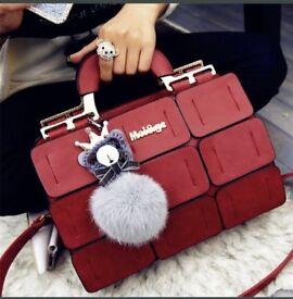 Women Splicing Jiugongge Shoulder Bag PU Leather Handbag(Without Bag Belt).