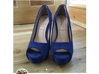 Blue suede open toe high heels, hardly worn!
