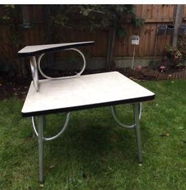 Retro vintage chrome telephone table