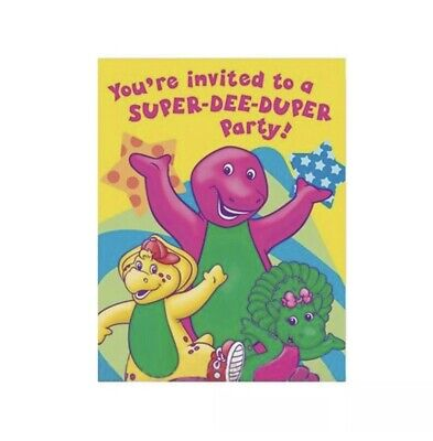Barney Party Supplies (BARNEY 8 INVITATIONS WITH ENVELOPES  PARTY)