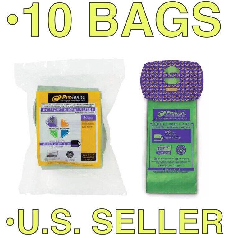 🌟(10 Bags) ProTeam Super HalfVac Pro Intercept Micro Filter, Closed Collar
