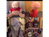 Giant Pooh Bear Peppa Pig and Heffalump Toys and Furbys