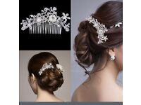 Hair Accessories Beautiful Hair Comb Pin Clip Bridal Prom Silver Wedding Flower Pearls Crystal.