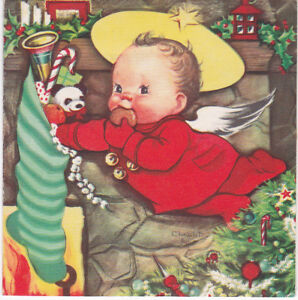 Vintage Christmas Card Charlot Byj Little Boy Baby Eating Cookie