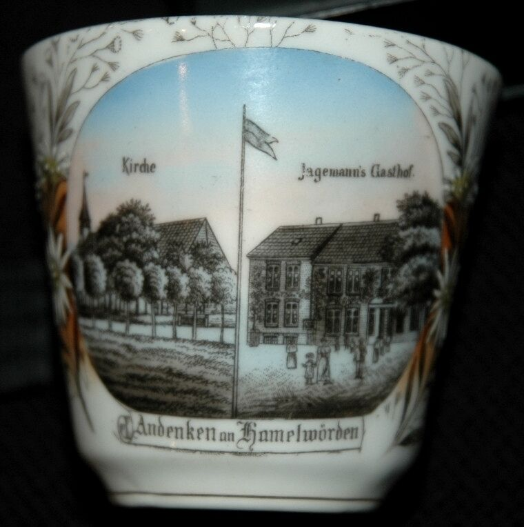 ANDENKEN AN KAMELWORDEN GERMANY CHINA CUP PLATE CA 1910