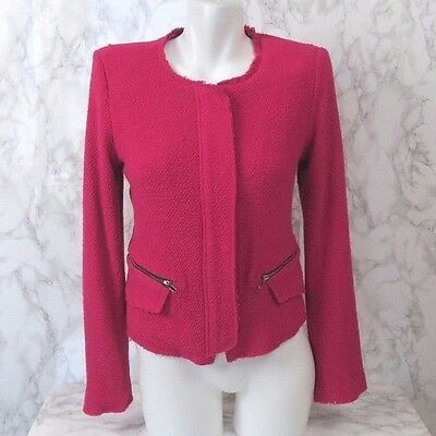 Gibson Womens Size S Small Raw Edge Hot Pink Tweed Textured Jacket FLAW - Hot Pink Tweed