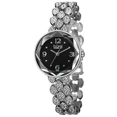 Burgi BUR124SSB Analog Quartz Swarovski Crystals Silver-Tone Womens Watch
