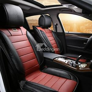 Sport leather car seat cover set (red and black)