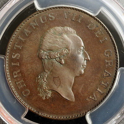 1799 DENMARK CHRISTIAN VII. PROOF CU PATTERN 2/3 SPECIEDALER COIN. PCGS SP 63