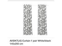 AVSIKTLIG Ikea Black White Brand New Curtains 145 x 250 (x2)
