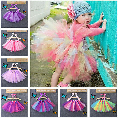 USA Girls Kids Bow Tutu Party Ballet Dance Wear Dress Skirt Pettiskirt Costume