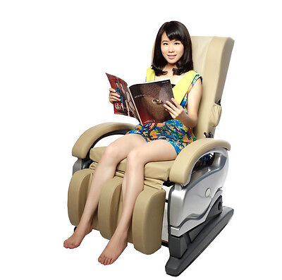 Electric Full Body Shiatsu Massage PU Leather Chair Recliner 8881CW Beige