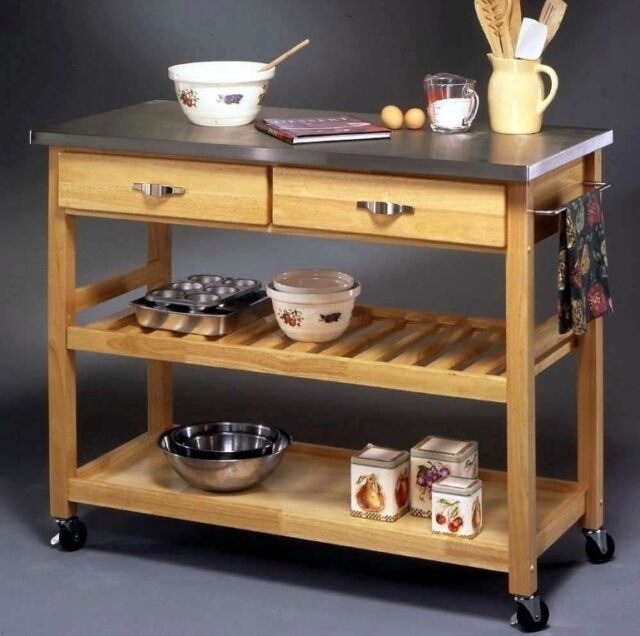 Beautiful Rolling Kitchen Island Cart Portable Stainless Steel Top Wood Storage Shelf  NEW
