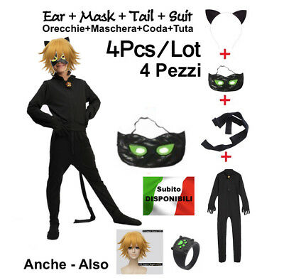Simile Tipo Cat Noir Lady Bug Vestito Tuta - Kostüme Chat
