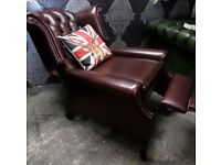 Immaculate Chesterfield Queen Anne Wing Back Recliner Chair Oxblood Red Leather - UK Delivery
