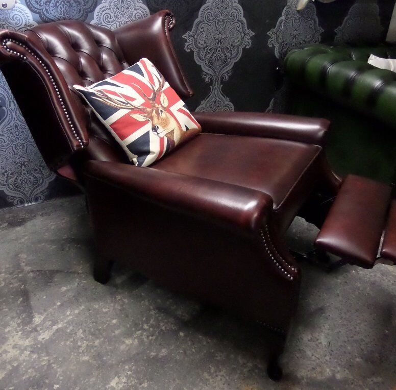 Charmant Immaculate Chesterfield Queen Anne Wing Back Recliner Chair Oxblood Red  Leather   UK Delivery