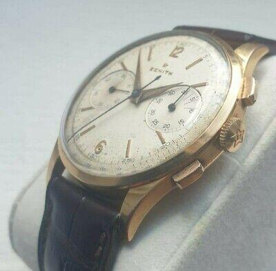 Zenith vintage chronograph 18k gold 156 excellent condition patina 38mm oversize