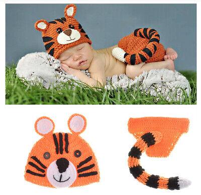 Neugeborene Baby Knit Strick Fotoshooting Kostüm Tiger Mütze - Neugeborene Tiger Kostüm