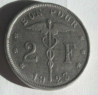 2 francs - Albert Ier type Bonnetain  Belgique KM# 91, LA# BFM-119 Belgium Coin