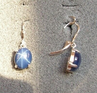 Linde Lindy 10X8mm 5  Ctw Cf Blue Star Sapphire Created S S Leverback Earrings