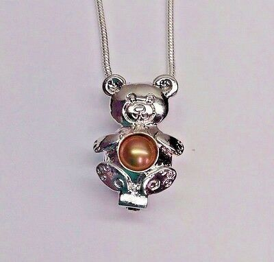 Make A Wish Pearl Cage Pendant Necklace   Teddy Bear   925 Chain Pearl Included