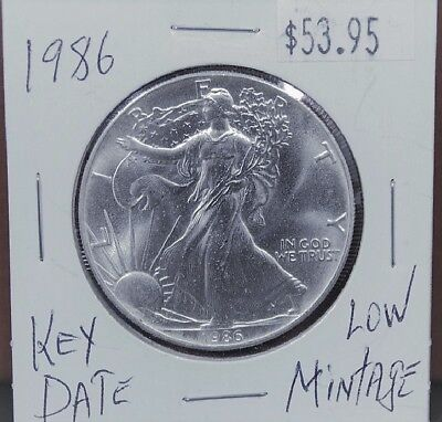 1986 Silver American Eagle BU 1 oz Coin $1 Dollar Uncirculated Mint First Year