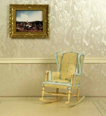 Blue & Creme Rocking Chair DOLLHOUSE FURNITURE 1/12 or 1