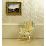 "Blue & Creme Rocking Chair DOLLHOUSE FURNITURE 1/12 or 1"" Scale BESPAQ"
