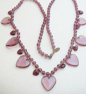 MIRIAM HASKELL Vintage Necklace Purple Art Glass Beads & Hearts