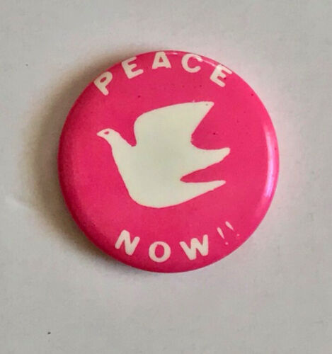 Peace Now Vietnam Era vintage button pin pinback badge pink dove