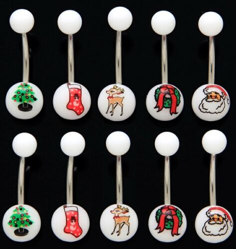 30pcs Christmas Holiday Print UV Acrylic 14g Belly Rings Wholesale Body Jewelry