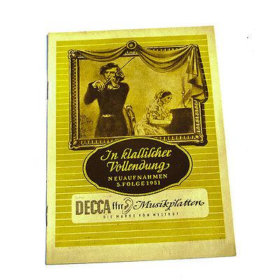 Antiquitäten & Kunst Decca Neuaufnahmen Oper Operette Konzert 7.folge 1951 Katalog k97