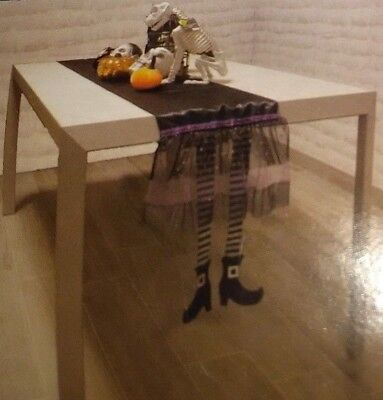 Happy Halloween Black and Golden Witch Legs Table Runner Design](Happy Halloween Witch)
