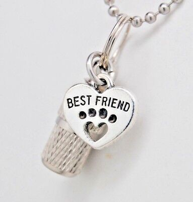 Pet Ashes Jewelry || Best Friend Heart on Capsule Urn Necklace ||