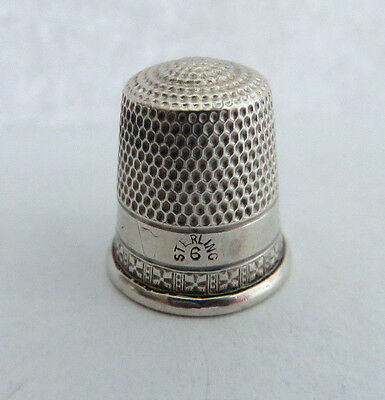 SMALL ANTIQUE SIMONS STERLING SILVER SZ. 6 THIMBLE