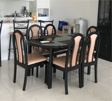7 Piece Extension Black Dining Table Setting