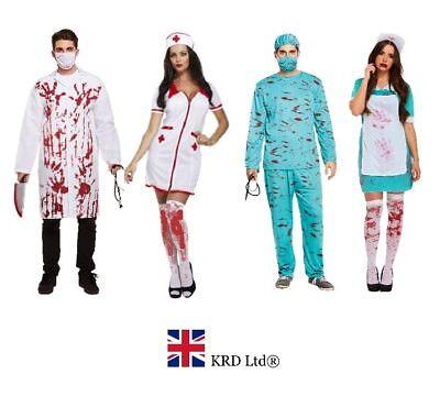 BLOODY SURGEON NURSE Halloween Fancy Dress Costume Zombie Doctor Ladies Mens UK